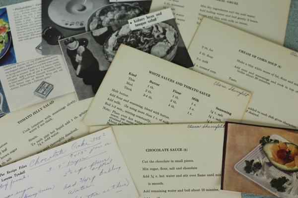 Vintage 1930s recipe cards